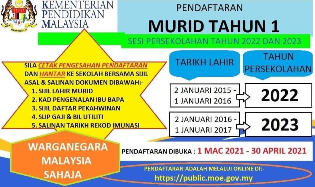 Permohonan Murid Tahun 1 2022/2023 Online (Login)