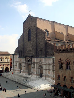 The Basilica of San Petronio towers over the  Piazza Maggiore in Bologna