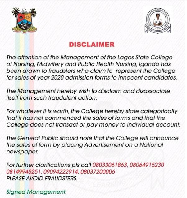 LASCON Igando Basic Midwifery Admission Form 2020/2021