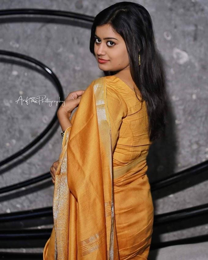 South Indian Actress Ansiba Hassan in Golden Colour Saree Stills