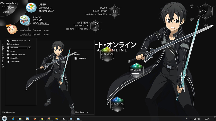 Theme Anime Windows 7 Kirito SAO ALO GGO