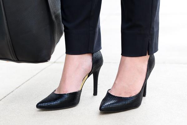 Naturally Me, Black tote, Black patterned heels, Black Snakeskin Pumps