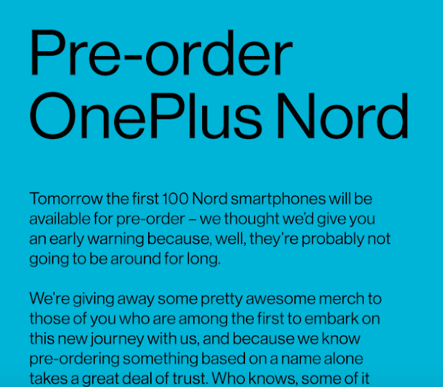 Oneplus Nord Smartphone Confirmed Pre-Order Started, Expected Specification, Launch Date & More
