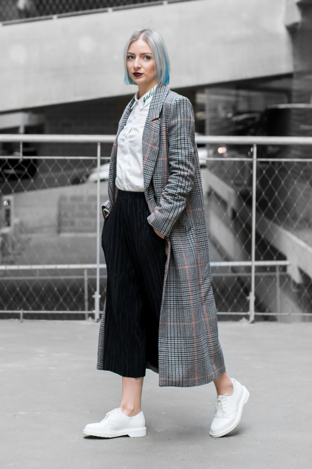 H&M trend check coat, Q/S designed by robin schulz, embroidered shirt, white shirt, minimalist, pleated trousers, white monochrome dr martens, grey hair, blue hair, outfit