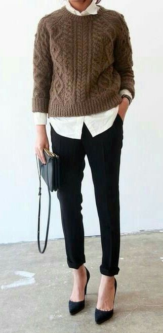 what to wear with a knit sweater : bag + heels + pants + white shirt