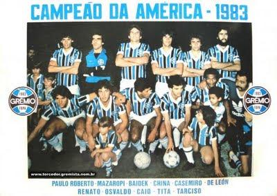 Resultado de imagem para gremio campeão da libertadores 1983