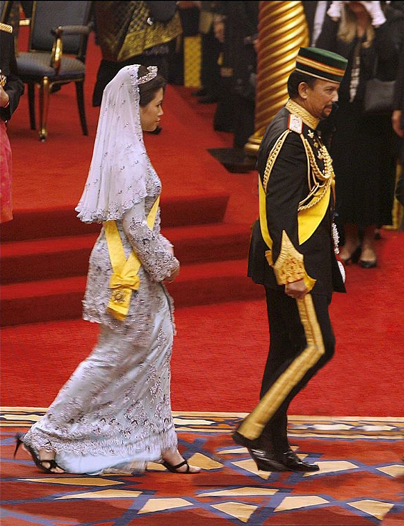 The Sultan and His wife, Queen Anak Hajah Saleha at the celebration at Istana Palace in Brunei Darussalam on 15 July 2006.