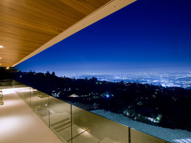 Picture of the city lights from the modern mansion balcony
