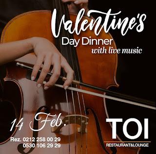 Toi İstanbul Sevgililer Günü Programı Menüsü 2020