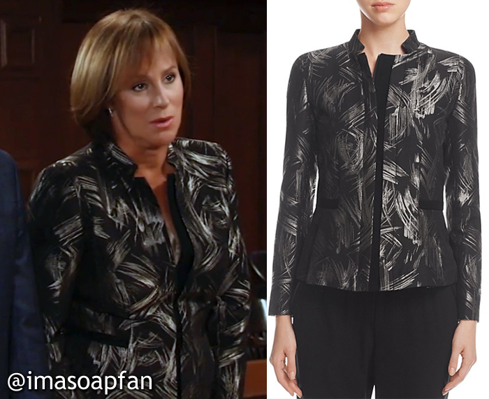 Nora Buchanan, Hillary B. Smith, Black and Gold Abstract Print Blazer, Lafayette 148 New York Belle Metallic Abstract Print Jacket, GH, General Hospital
