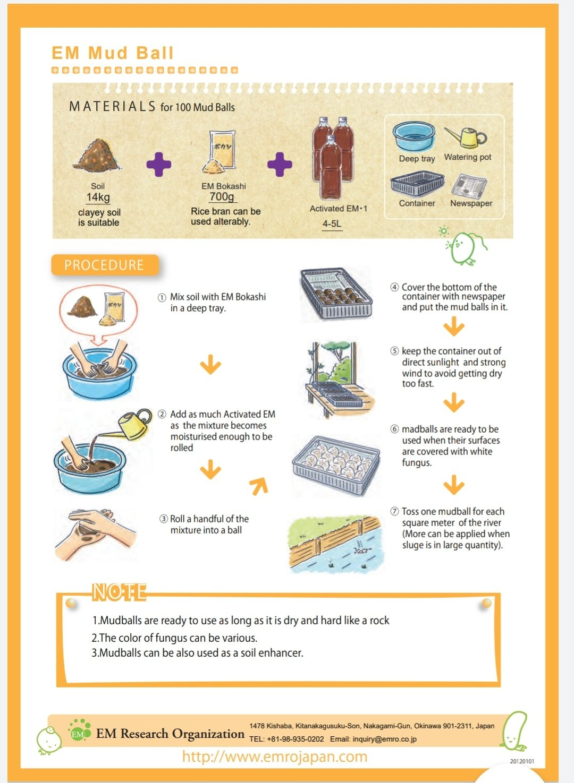 cara fungsi resepi mud ball rawat bersihkan sungai EM