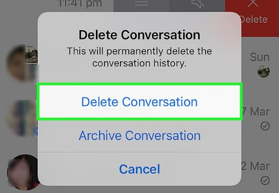 how to delete old facebook messages