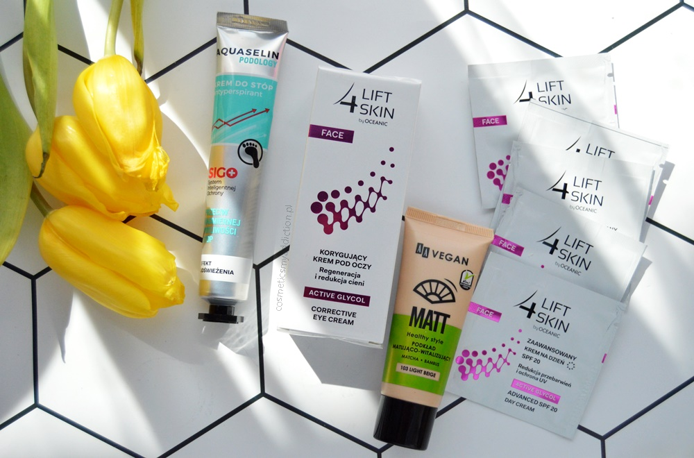 4 Lift Skin, krem do stóp antyperspirant Aquaselin oraz AA Vegan podkład matująco-witalizujący.
