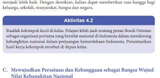 Soal dan Jawaban Aktivitas 4.2 Peran Boedi Oetomo, PKN kelas 8 hal 81