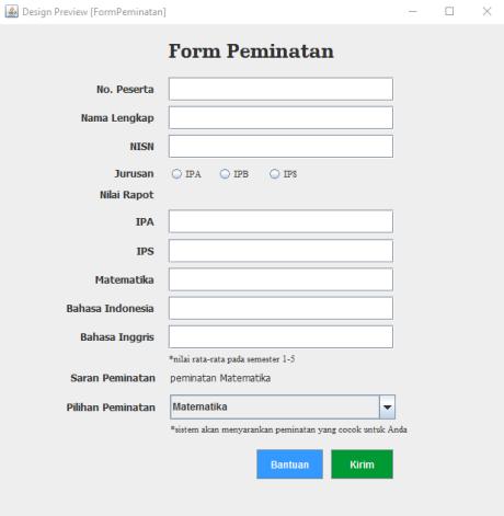 Gambar 5.3 Form Peminatan