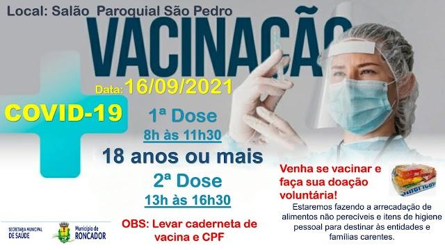 Confira a programação de vacinação para esta quinta-feira 16 de setembro em Roncador