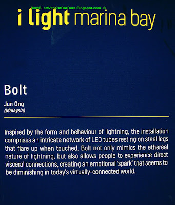 Bolt Art installation, i light festival, Marina Bay, Singapore