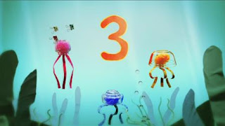 Two kids find three jellyfish in the sea. Sesame Street Episode 4420, Three Cheers for Us, Season 44