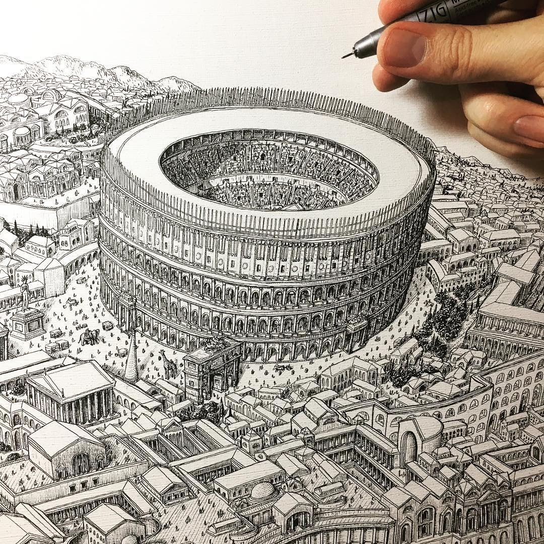 02-Rome-the-Colosseum-Jeff-Murray-Detailed-Miniature-Real-and-Imaginary-Urban-Drawings-www-designstack-co