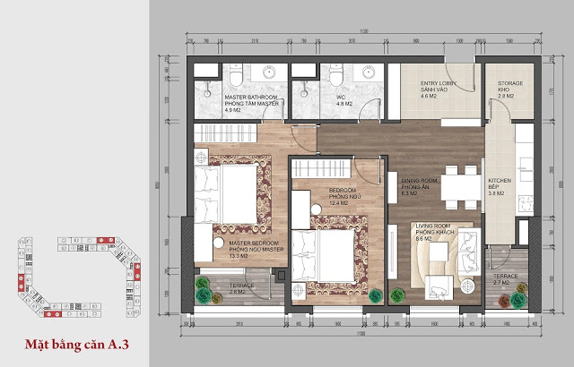 Thiết kế căn hộ 02 ngủ tại The Emerald