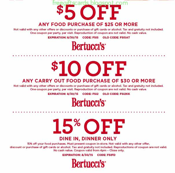 Active Bertuccis Coupon Codes & Deals for October 12222