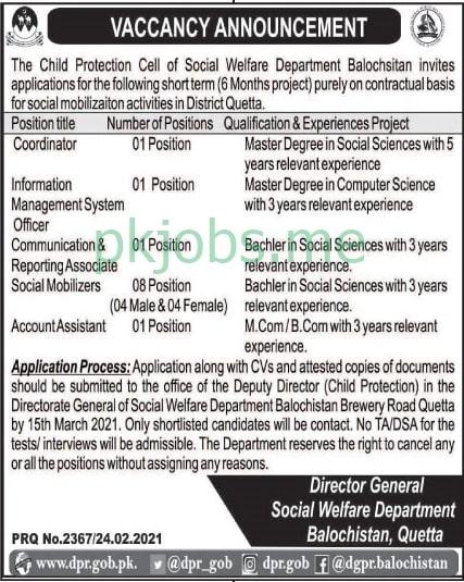 Latest Social Welfare Department Management Posts 2021