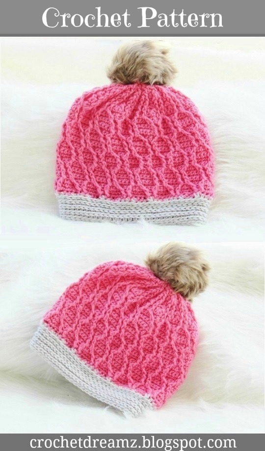 Cable Slouch Hat Crochet Pattern