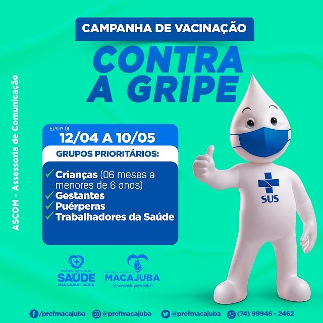 Campanha de vacinação contra a gripe começa na segunda em Macajuba