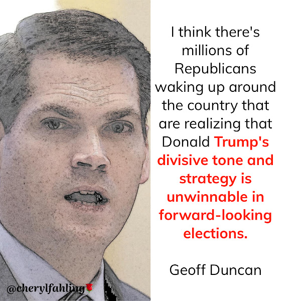 I think there's millions of Republicans waking up around the country that are realizing that Donald Trump's divisive tone and strategy is unwinnable in forward-looking elections. — Geoff Duncan, Georgia Lt. Governor Geoff Duncan, a Republican