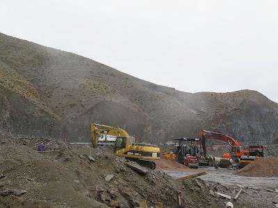 Obras en la carretera del Gran Atlas