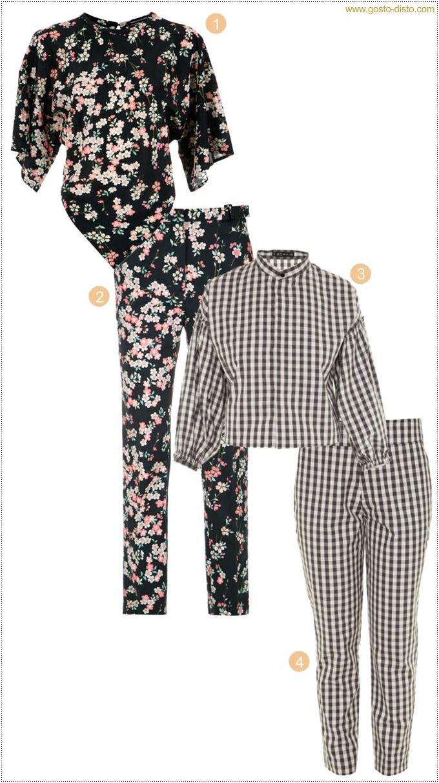 Tendência chic - Conjunto estampado com calça comprida