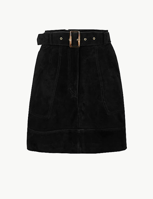 marks and Spencer suede belted a line mini skirt