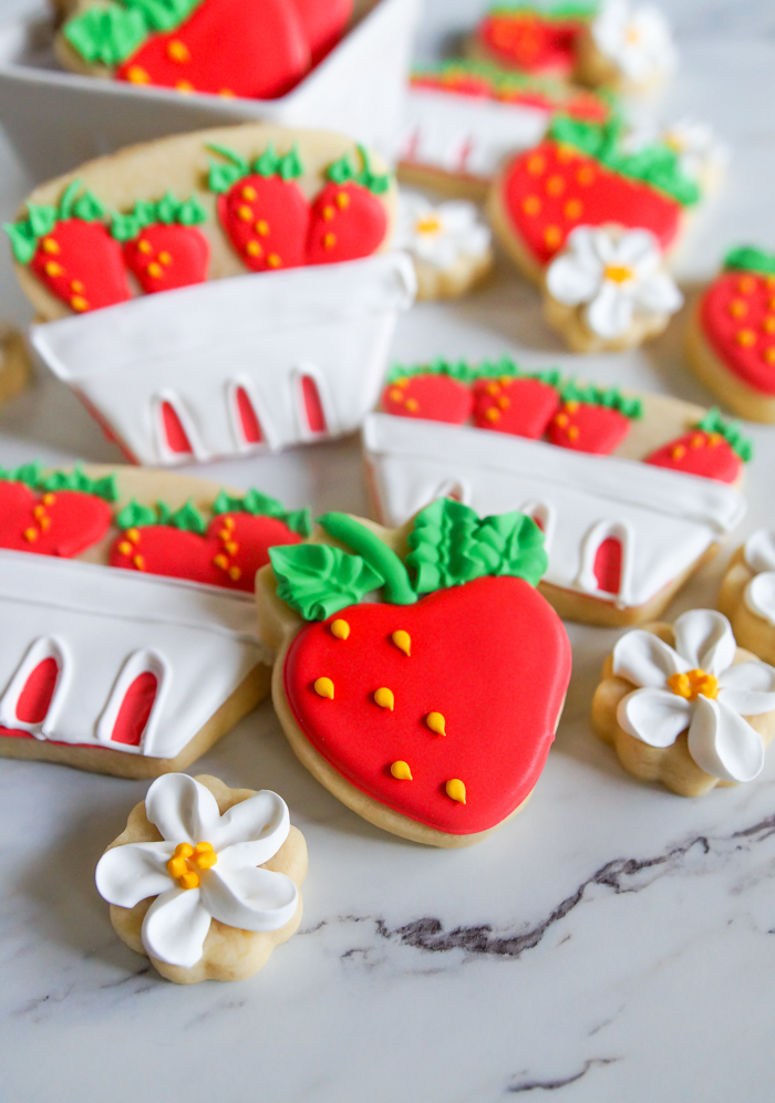 strawberry basket decorated cookies