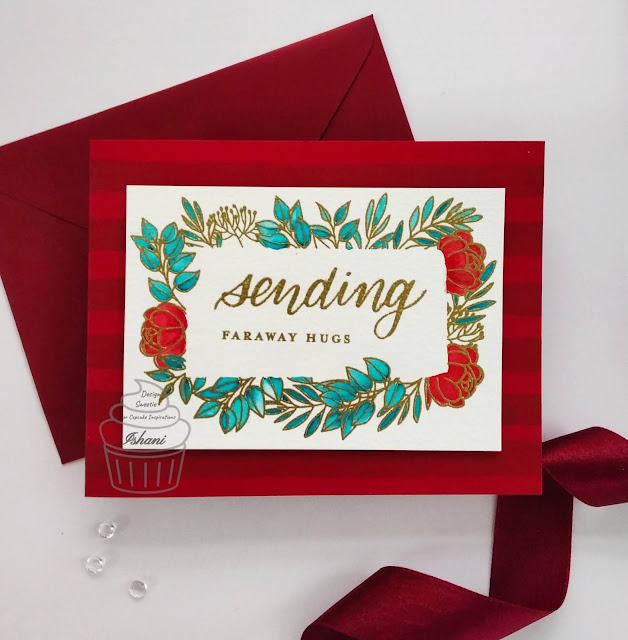 Red, gold and teal card, Leafy frames SSS stamp, Cupcake Inspiration Challenges,CIC,simon says stamps,floral card,Everyday cards,Quillish,