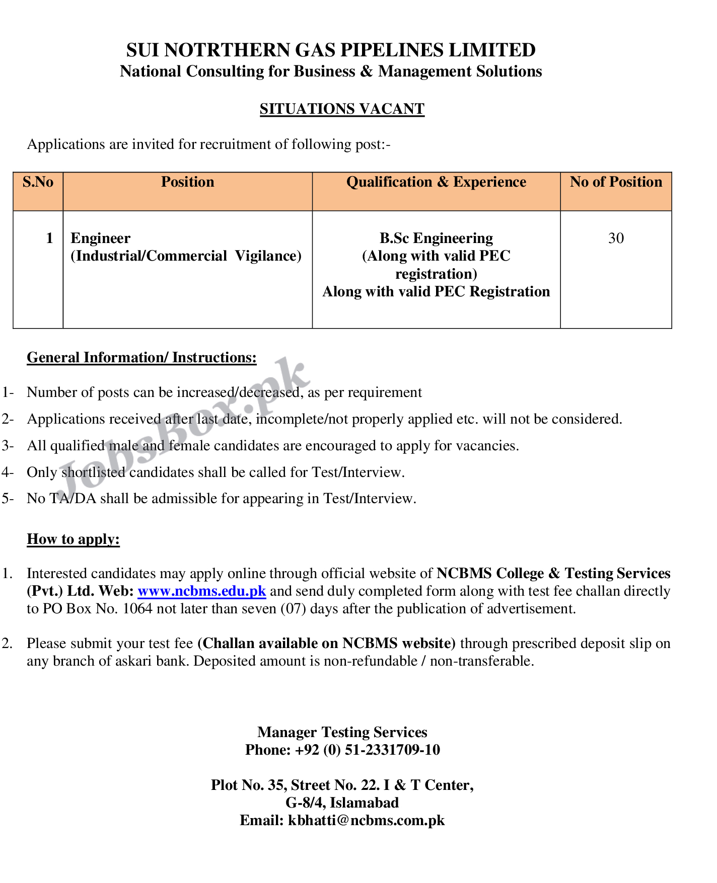 Latest Sui Northern Gas Pipelines Limited SNGPL Jobs 2021