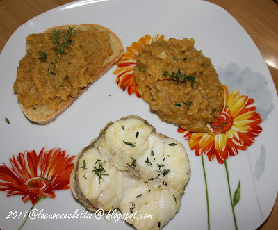 Trancio di rana pescatrice con purea di lenticchie rosse