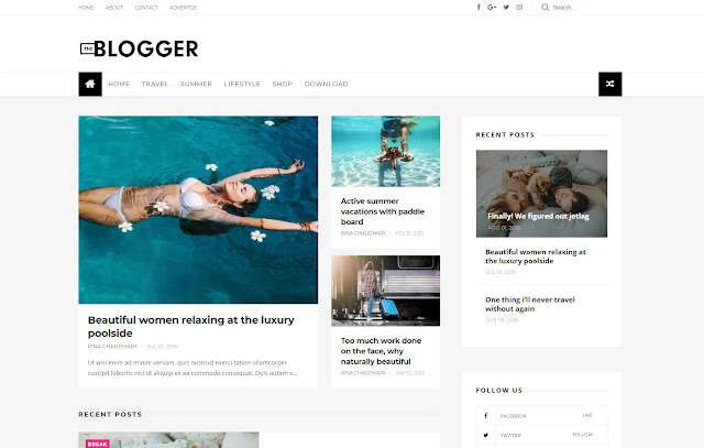 TheBlogger Responsive Personal Blog Tutorial Minimalist Blogger Template Theme