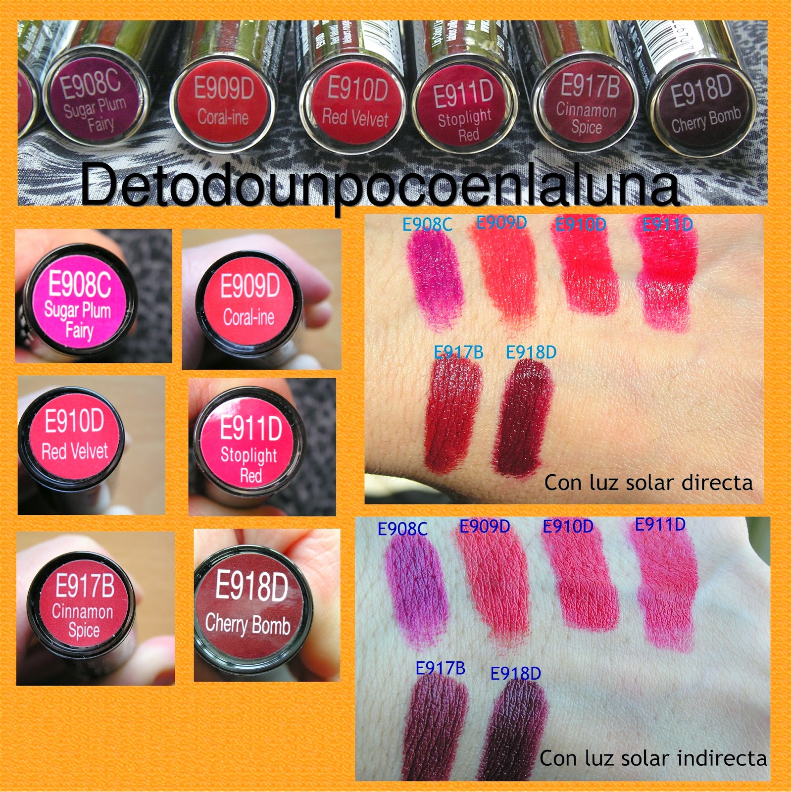 Swatches Labiales MegaLast de wet and wild