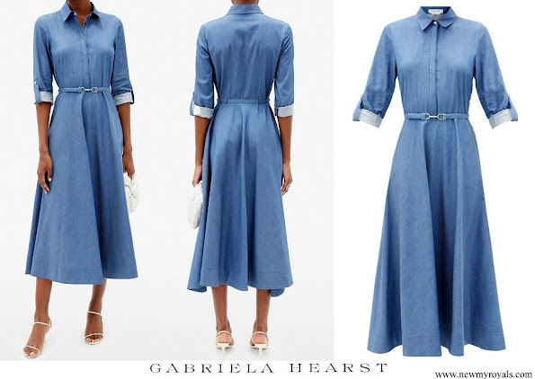 Kate Middleton wore GABRIELA HEARST Marley belted denim midi shirt dress