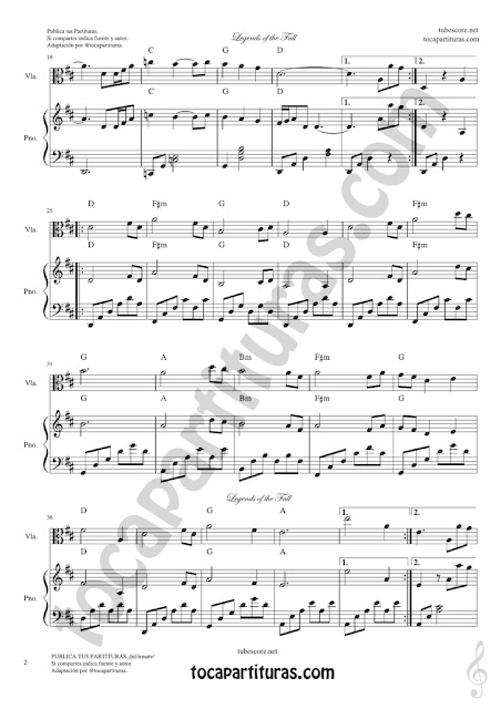 2 Leyendas de Pasión Partitura de Viola Legends of the Fall Sheet Music for Viola