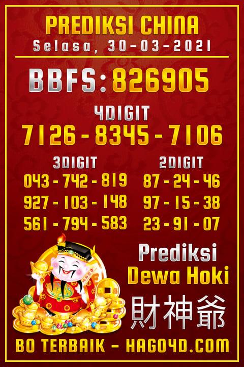 Prediksi Dewa Hoki - Selasa, 30 Maret 2021 - Prediksi Togel China