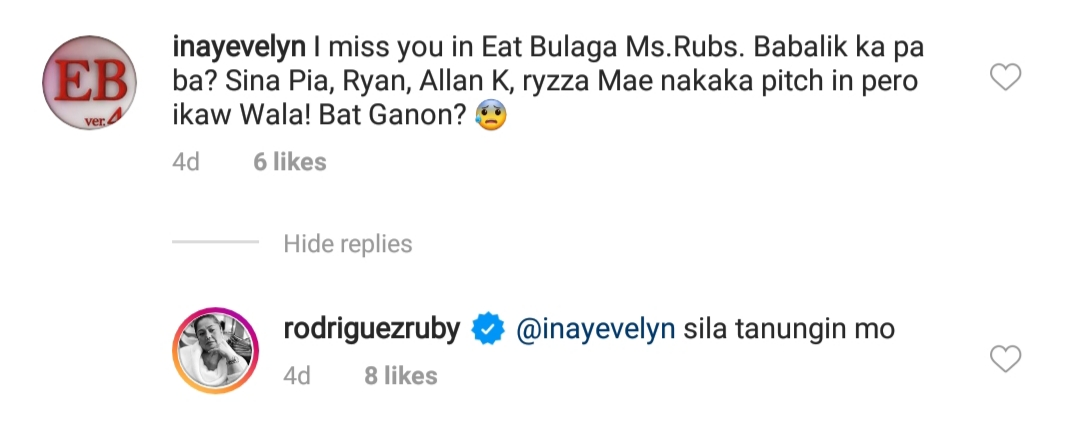Ruby Rodriguez has spoken why she is no longer seen on Eat Bulaga