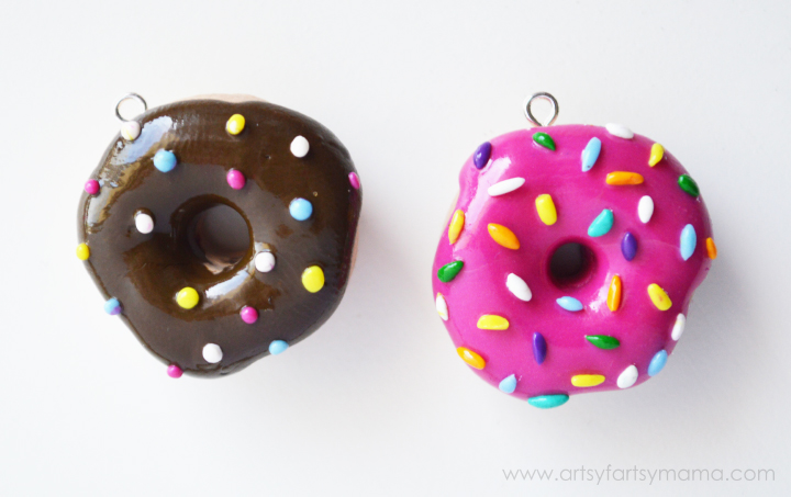 Polymer Clay Donut Jewelry at artsyfartsymama.com