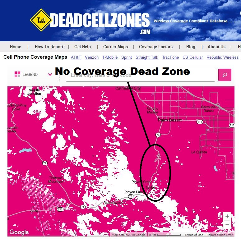 CA Highway 74 T-Mobile Cell Phone Coverage on
