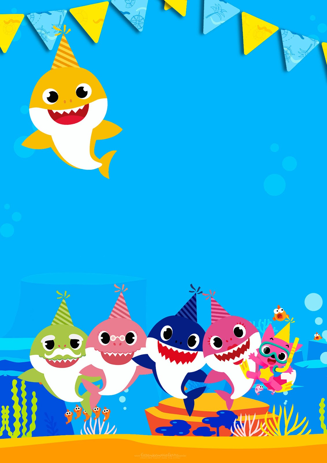 baby shark free printable invitations