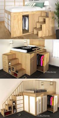 Camas suspensas e elevadas na decoração de quartos pequenos