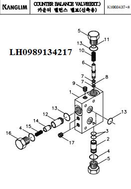 Van chống tụt xy lanh ra vào cần của cẩu Kanglim 3 tấn KS733N-KS734N-KS735N