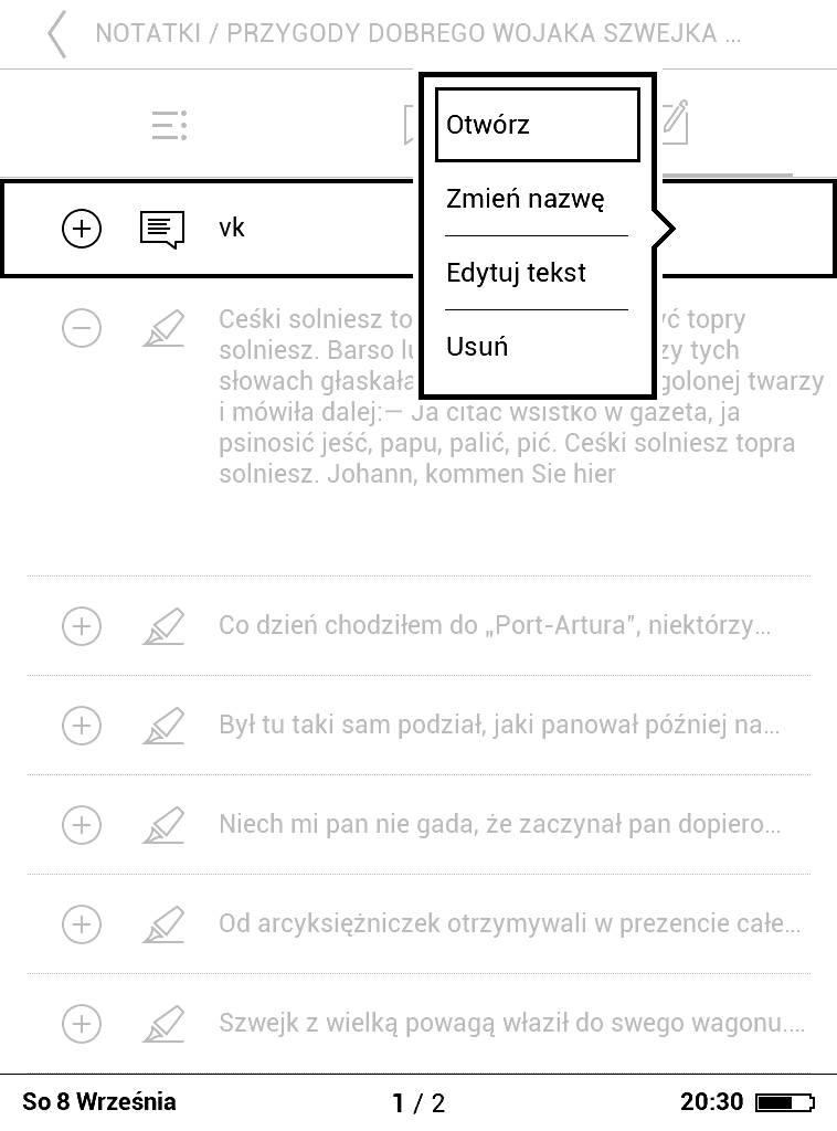 PocketBook Basic Lux 2 – menu kontekstowe pojawiające się przy wyborze zaznaczenia z listy