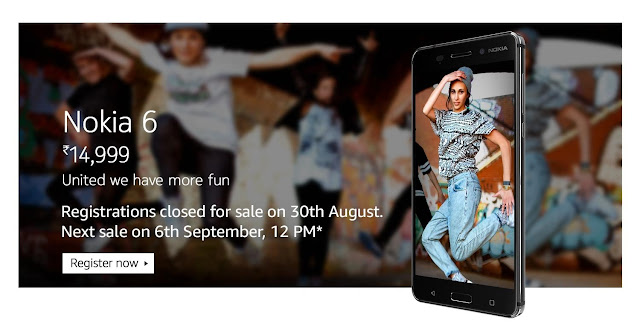 Nokia 6 Second flash sale on Amazon.in