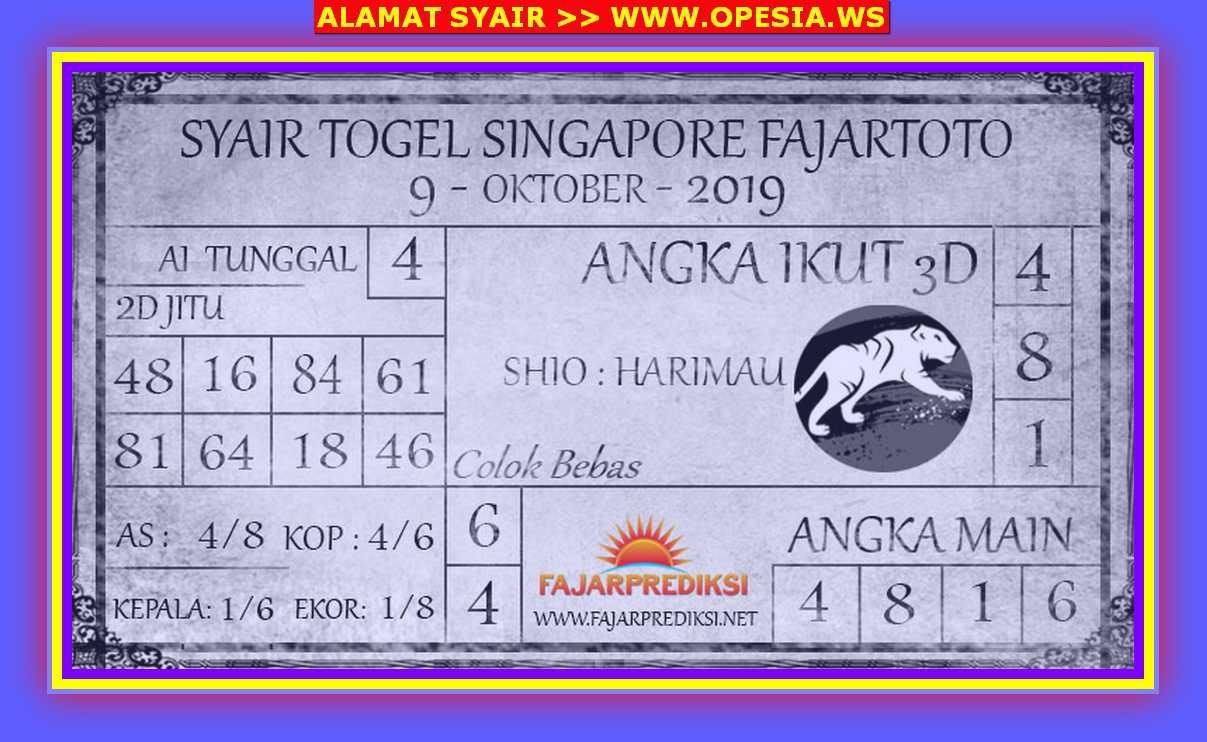Kode syair Singapore Rabu 9 Oktober 2019 101